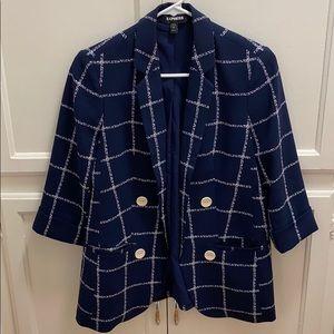 Trendy blue white geometric print blazer